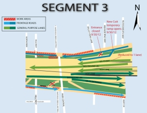 Traffic Configuration for Reduction of entrance lanes from US-75 to Westbound I-635