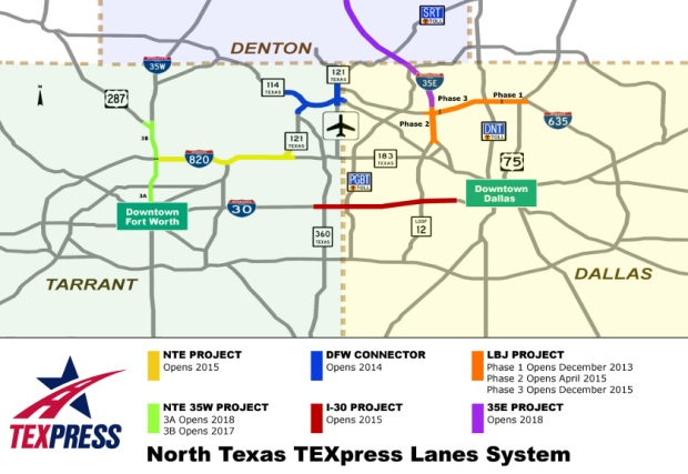 A map of the planned TEXpress Lanes System for North Texas
