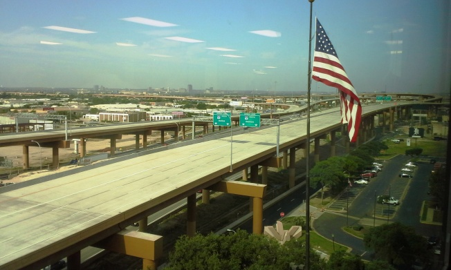 View of the new lanes from the 8th floor of 2711 LBJ Fwy, where Thursday's event was held.