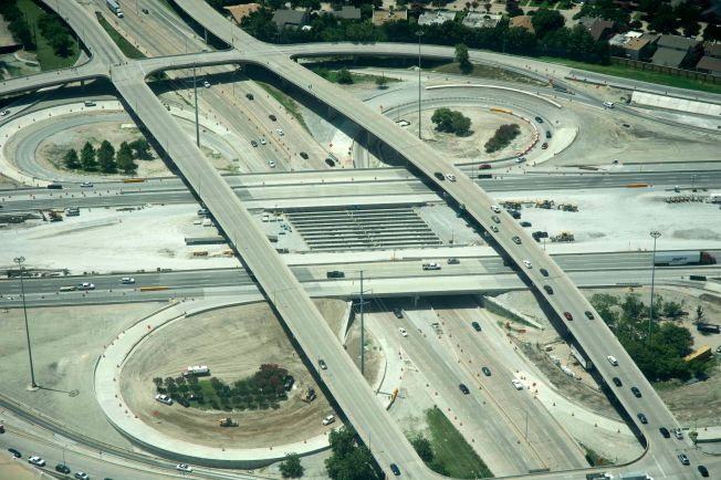 Aerial Photo of the Dallas North Tollway and I-635 intersection. View of the LBJ Beams over DNT's northbound and southbound lanes.