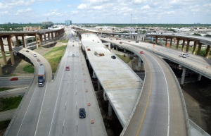 A view of the new elevated lanes along I-635, looking east from the I-35E Interchange