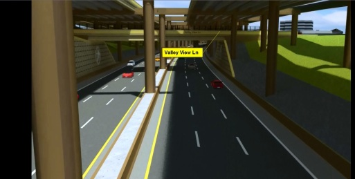 Digital concept of the future TEXpress Lanes under Valley View Ln.