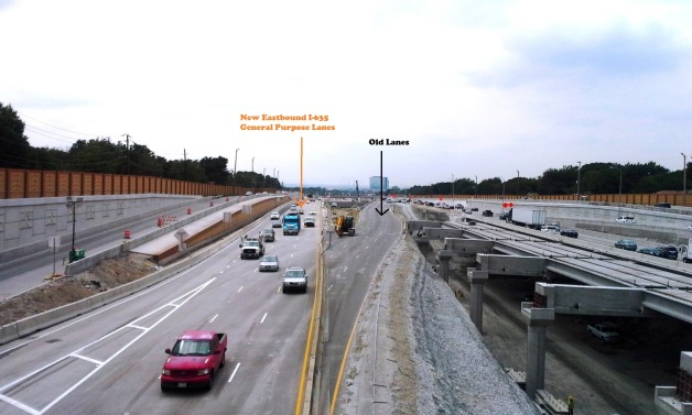 Taken Mon. Sept 15 - View from the Rosser Road I-635 overpass, looking west.