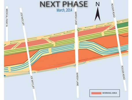 Lane configuration after traffic switch, March 2014. Eastbound lanes were shifted north so that general purpose lanes in this area could be built on the south side.