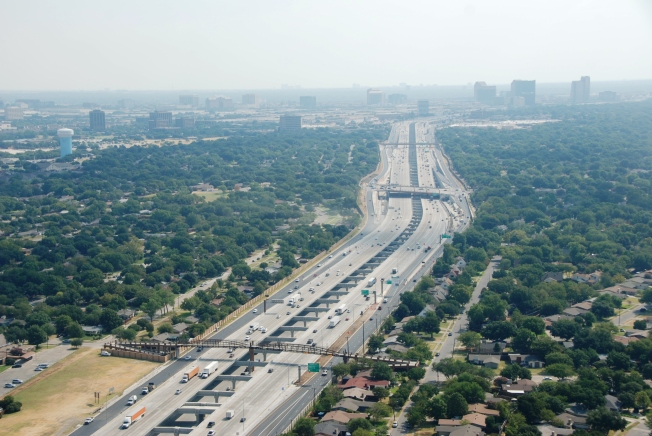 Aerial of the 16.5-mile LBJ Express project