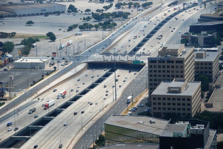 Looking east, between Dallas North Tollway and Montfort Dr.